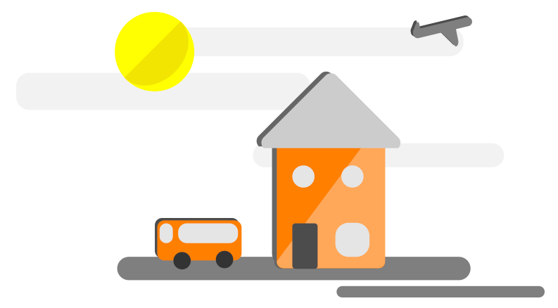 illustration of a house a bus and an airplane